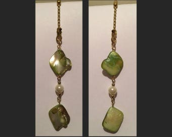 Shades of Green & Pearl Ceiling Fan or Lamp Pull