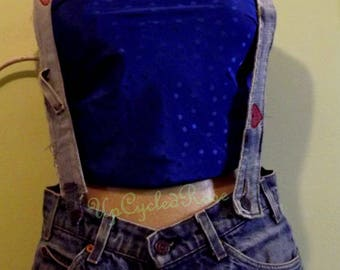 Up-cycled Repurposed  Unraveled Denim Belt  with Removable Suspenders Resort Festival Haute Couture Collection