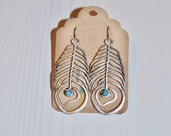 Silver feather earrings, Turquoise earrings, Leaf earrings, Dangle earrings, Western jewelry, Indian Jewelry, Boho earrings