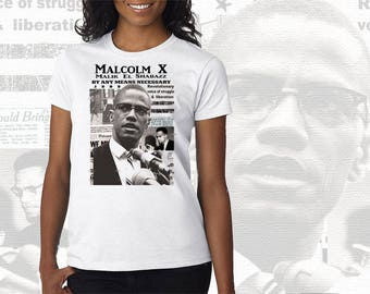 Malcom X T-Shirt Freedom Fighter Collage All Power To The People Revolutionary Women Tee