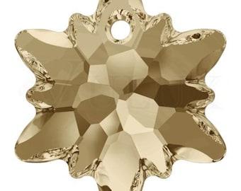 Swarovski 6748 Edelweiss Pendant  18 mm Crystal Golden Shadow