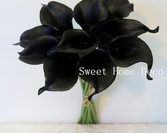 """JennysFlowerShop 15"""" Latex Real Touch Artificial Calla Lily 10 Stems Flower Bouquet for Wedding/ Home Black"""