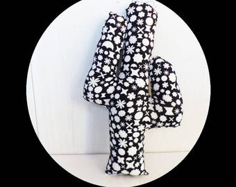 CACTUS fabric black and white geometric decoration 30 cm