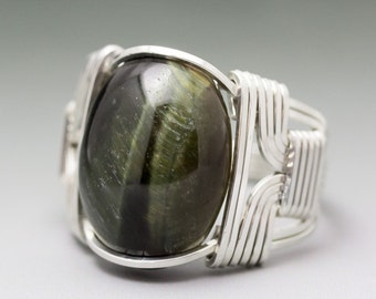 Green Tiger's Eye Gemstone Cabochon Sterling Silver Wire Wrapped Ring - Made to Order and Ships Fast!