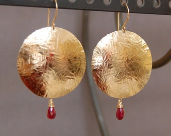Disc Earrings with Faceted Ruby Stone, 14K Gold Filled - Customizable, Sale, Discount, Coupons, Free Shipping