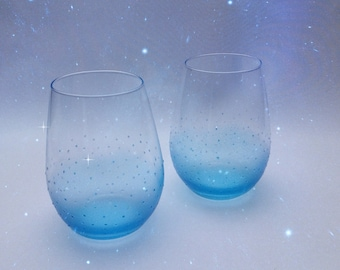Pair of Hand Painted Stemless Wine Glasses Blue.