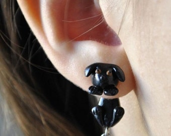Black Dog Earrings - Gifts for her