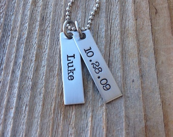 Hand stamped mothers necklace  personalized necklace stainless steel tags