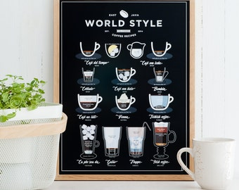 World Style Coffee Print 11x14 12x16 16x20 A3 A4- coffee gift, kitchen poster, coffee print, coffee lover