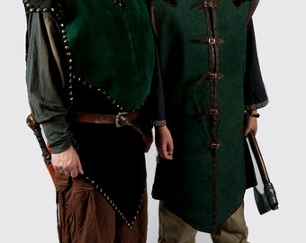 Green black leather armor tabard larp game of thrones warcraft costume medieval knight sca ren faire male female armour fantasy sale 10% off