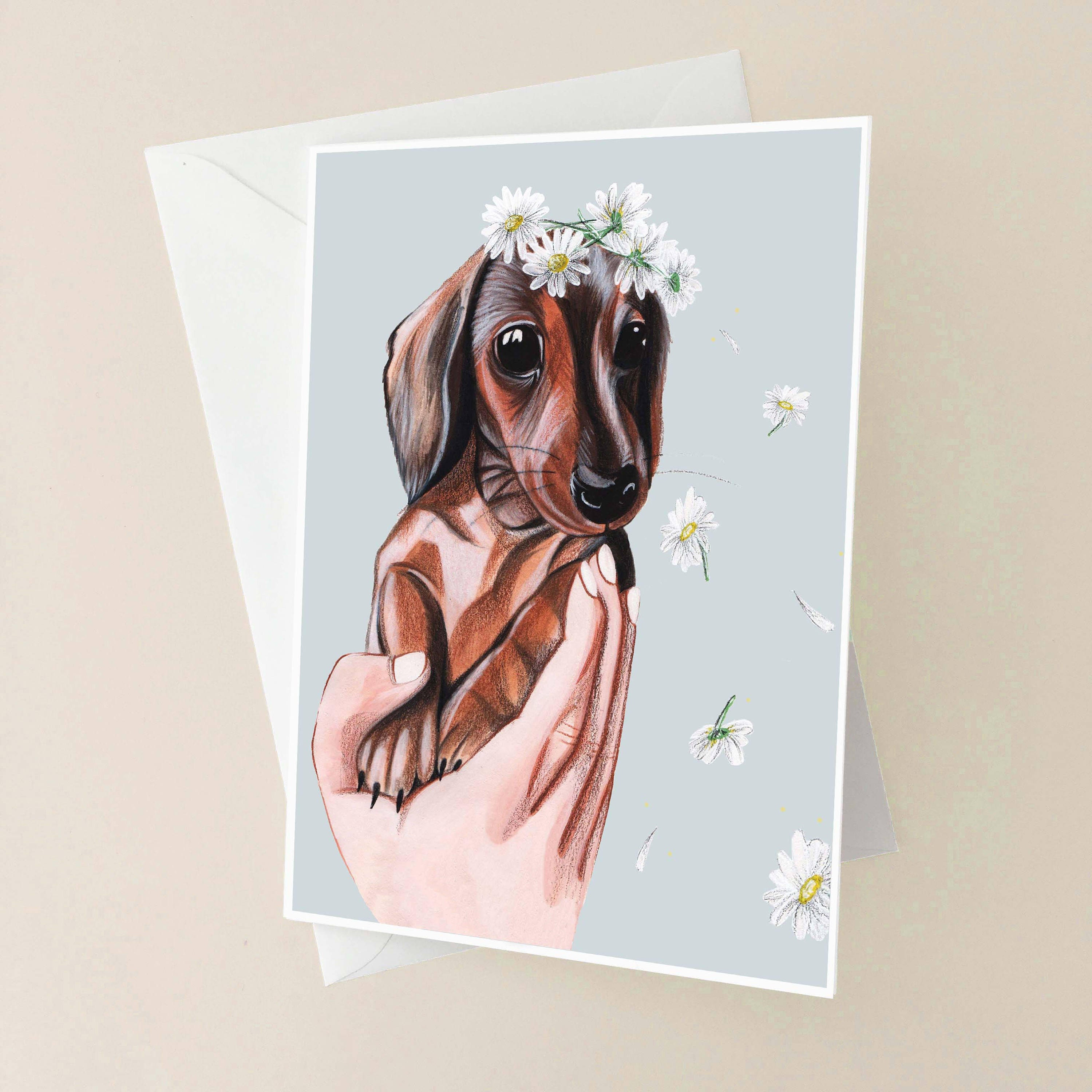 Dachshund Puppy Illustrated Greeting Card Cute Puppy Painted