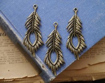 2 pcs Large Antique Bronze Leaf Feather Charm Pendants 71mm (BC3396)