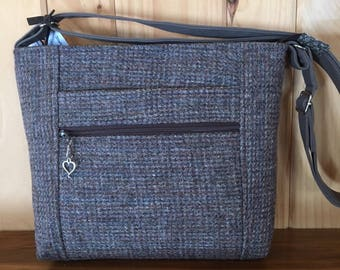 Upcycled Harris Tweed Purse / Wool Cross Body Purse / Wool Purse / Zip Top Purse  /  Front Zip Pocket / Wool Cross Body Bag / Eco Friendly