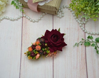 Flower hair clip- Bridal hair clip- Burgundy hair clip- Bridesmaid hair- Flower girl hair clip- Maroon hair clip- Floral hair clip- Wedding