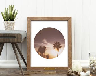 sunset photo, palm tree print, printable palm tree photo, beach sunset photograph, California decor, LA artwork, modern home decor, digital