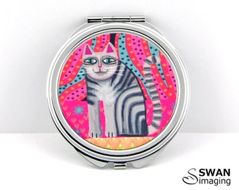 Cat Compact Mirror ~ Funky Cat Design #4 ~ Round Compact