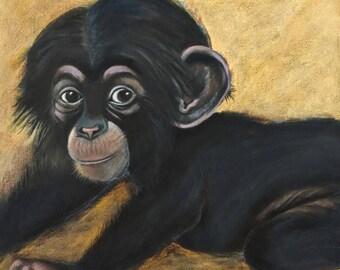 "Baby Chimpanzee  - 8.5 x 11"" print from original acrylic painting"