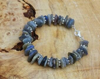 Labradorite Irregular Stones Bracelet ~ Sterling Silver Clasp ~ North American Gemstones ~ Iridescent ~ Natural Semi Precious Stones