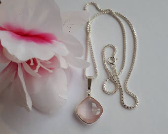 Rose quartz gemstone necklace in sterling silver,18 inches, sparkling chain, free shipping