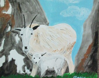 """Rocky Mountain Goats - 12"""" by 12"""" acrylic painting by Rory, a disabled artist with autism"""