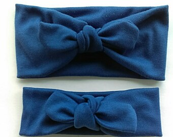 Signature knotted headband in royal blue for mommy and daughter - matching mommy and me headbands - top knot stretchy headwrap