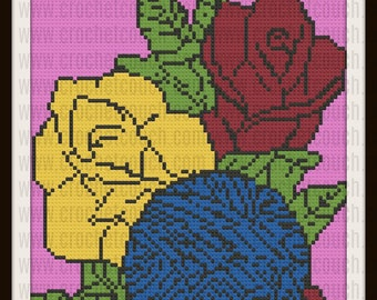C2C Graph, Yarn with Flowers Afghan, C2C Graph, & Written Word Chart, Rose C2C, Pansy Graph, Corner to Corner