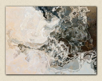 """Large abstract expressionism stretched canvas print, 24x32 to 40x54 in titanium, from abstract painting """"Geode"""""""