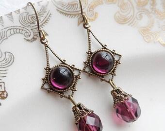 75% Off Clearance Sale, Purple Vintage Glass Earrings