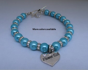 Flower Girl Pearl & Crystal Rhinestone Charm Bracelet-Flower Girl gifts-Flower Girl jewelry-Flower Girl bracelet-Bridal Party gifts, B285