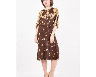1930s dress / Vintage sheer rayon day dress / Falling leaves  / Art Deco print / Bow neckline / S M