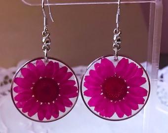 Pink Flower Earrings Real Flower Earrings Resin Flower Earrings Real Flower Jewelry Resin Earrings Botanical Earrings Nature Jewelry Dangle