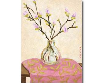 ORIGINAL Magnolia flowers painting 12x9 acrylic floral impressionist painting Magnolia branches in vase pink and beige soft colors by TASCHA