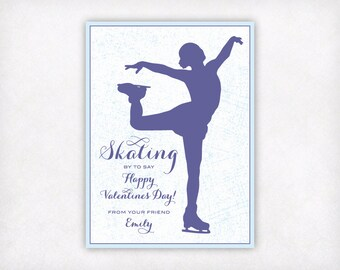PRINTABLE Ice Skating Valentines Day Cards, Personalized Valentines, Figure Skater Valentine Card, Classroom Girls Valentine's Day Cards