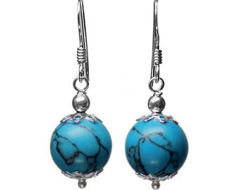 10mm Genuine Dyed Matrix Turquoise Gemstone Bead / Ball / Sphere 925 Sterling Silver Caps Drop / Dangle Earrings Pair
