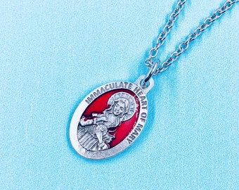 Immaculate Heart of Mary Necklace,Immaculate Heart of Mary Medal,IHM Necklace,IHM Medal,Catholic Jewelry,Confirmation Medal,Holy Medal