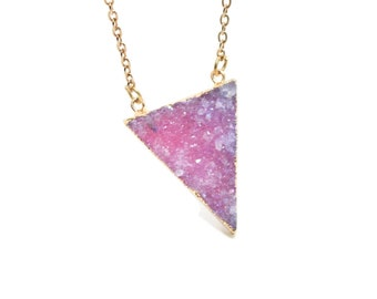 Pink Druzy Necklace, Pink Crystal Necklace, Gift For Her, Druzy Crystal Jewelry, Druzy Jewellery, Pink Necklace, Teenager