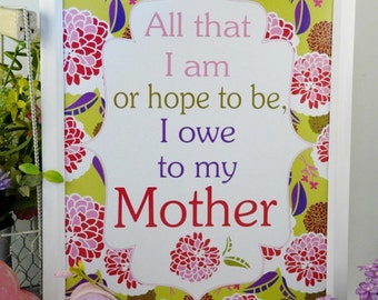 Mother's day sign PDF - mom digital fun floral illustrated modern retro saying