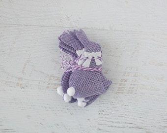 SALE Burlap Cottontail Purple Bunny Bunting Garland
