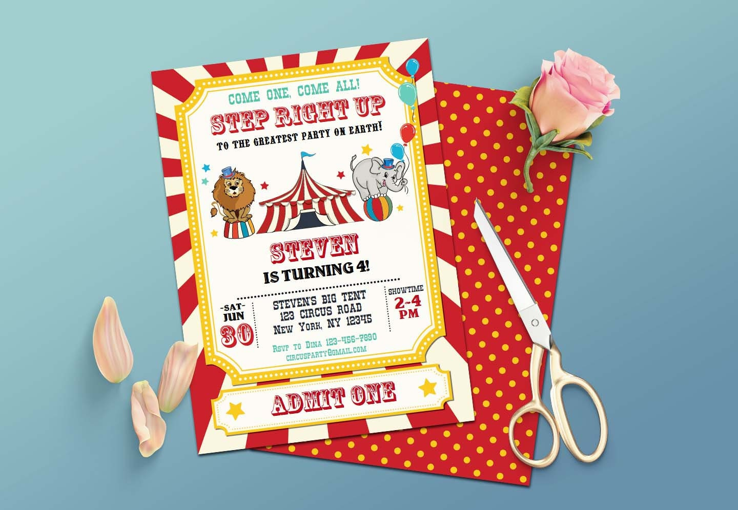 Editable Vintage Circus Birthday Invitation-Printable Carnival