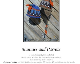 PATTERN ONLY Bunny and Carrot Ear Flap Hat for 6 sizes
