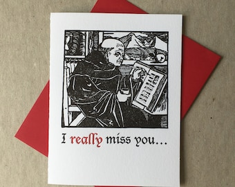 """Letterpress """"I *really* miss you"""" card (#MIS033)"""