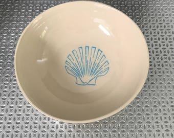 Blue Shell Bowl- Pottery Wheel Thrown Handmade Serving Dining Birthday Present Gift Idea Ceramic Bowl Set Housewarming Shells