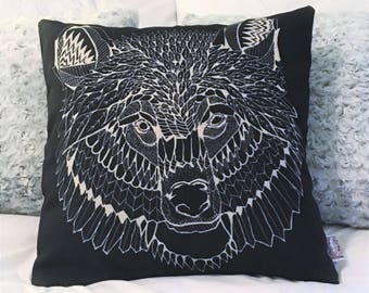 "Black Bear Head Pillow Cover 18"" x 18"" / Geometric Bear Face Pillow / Bear Face Drawing"