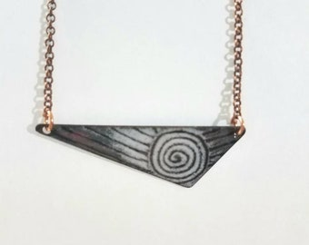 Torch fired copper enamel necklace