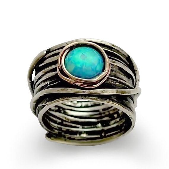 Opal ring Silver wedding ring silver engagement ring gypsy