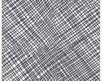 20% off thru Apr 24th THICKET- by the yard Moda fabric white with black crosshatch plaid on cotton~48204-11