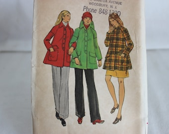 Vintage Butterick Sewing Pattern 6807 1970's Flared Coat Size 10 Uncut