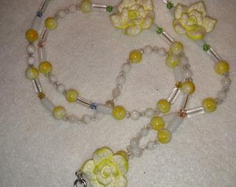 Beaded Floral Lanyard, Beaded ID Badge Holder, Yellow & White Lanyard, Beaded ID Tag Holder, Pretty Floral Beaded Lanyard, Lanyard Necklace