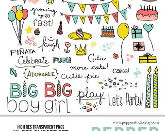 INSTANT DOWNLOAD - Birthday Party Clipart Set - Hi Res Printable Birthday Doodle Illustrations for Scrapbooking, Transparent PNG files