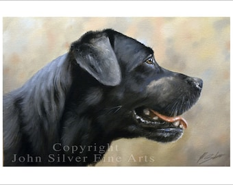 Black Labrador Dog Portrait by award winning artist JOHN SILVER. Personally signed A4 or A3 size Print. BL004SP